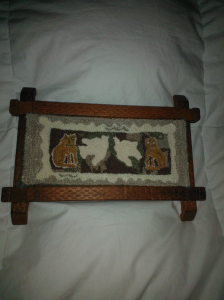 two cats two birds in lincoln log frame