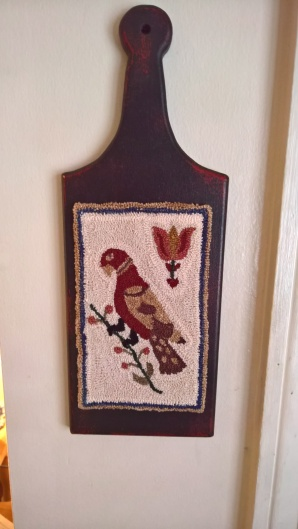 This Fraktur sits on another hornbook from Kathy's shop. Her dad makes all of her hornbooks. This is also my design.